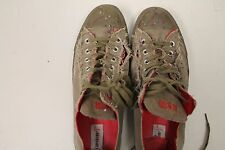 Converse All Star Adult Red Ox Olive/Red lace up distressed/ Ripped Mens 10.5
