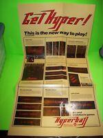 Williams HYPERBALL Original Arcade Game Pinball Machine FoldOut Poster 1981 RARE