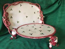 Vintage Fitz & Floyd Old World Santa Platter 18� & a Rare Elves Cake Stand 13�