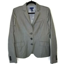 J Crew Wool Cashmere Mini Check Three Button Topstiched Jacket Blazer Size 10