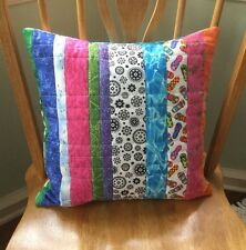 """Handmade Cotton Quilted Pillow Cover 16""""/Hand Crafted In Usa. #1570"""