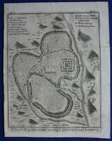JERUSALEM PLAN, TEMPLE, CALVARY, MOUNT OF OLIVES, original antique map, 1747