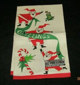 VINTAGE Parisian Prints Prints Linen Dish Tea Towel NEVER USED SANTA CHRISTMAS