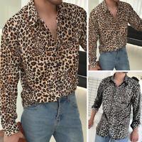 Mode Hommes Chemise à manches longues Slim Fit léopard imprimé Chemises t-shirt