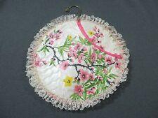 Vintage lace trim flowers bouquet plastic closet holder bag with metal hanger