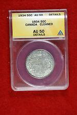 Cyberspacecoins ANACS 1934 Canada Half Dollar AU50 DETAILS E0801