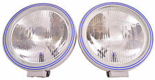 """8 1/2"""" Rally Spec Blue/Silver Off Road Multi-Reflector Glass Lens Lights Pair!"""