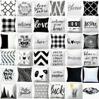 Cushion COVER White Black Soft Double-Sided Decorative Throw Pillow Case 18x18""