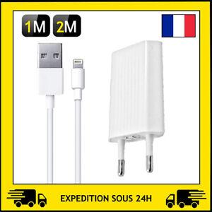 CHARGEUR PRISE SECTEUR ET CABLE USB 1M/2M APPLE IPHONE SE/5/6/7/8/X/XR/11/12PRO