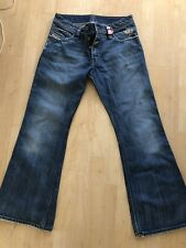 DIESEL  BLUE DISTRESSED BUTTON FLY STRAIGHT JEANS MENS SIZE 31 wash