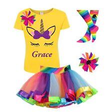 Unicorn Birthday Girl Shirt Rainbow Tutu Outfit Personalized
