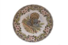 "Queen's Myott Factory Thanksgiving 8"" Salad Plate Brown Multi Color Turkey"