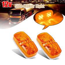 2X 10 LED Side Marker Amber Indicator Light Bullseye 2x4 inch Truck Trailer AU