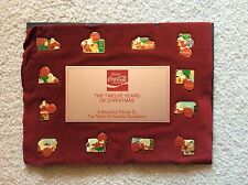 Twelve Years of Christmas Coca Cola Collector Pins by Haddon Sundblom 1931-1966
