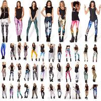 Womens 3D Print Skinny Slim Stretch Leggings Tight Pencil Pants Yoga Sportswear