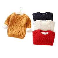 Toddler Kids Boy Girl Tops Clothes Infant Baby Boy Girl Winter Solid Sweater