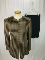 Tahari Women's Black Brown Stripe Skirt Suit 6