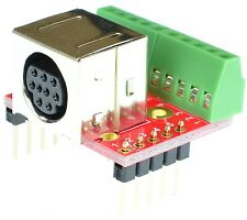 Mini Din 9 Female connector Breakout Board, adapter, eLabGuy mDIN9-F-BO-V2A