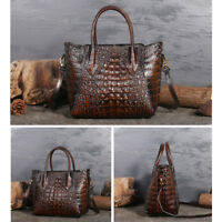 New Women's Genuine Leather Crocodile Grain Handbag Crossbody Shoulder Tote Bag