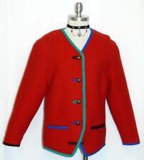 "SCHEIBER RED SWEATER Women BOILED WOOL Austria WINTER WALK Jacket B39"" 38 8 S"