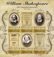 Grenadines Grenada Famous People Stamps 2016 MNH William Shakespeare 6v M/S II