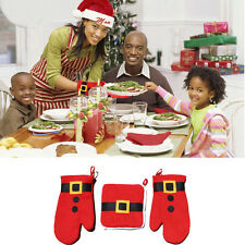3PCS Set Microwave Oven Mitts Gloves Pad Heatproof Christmas Xmas Cooking Baking