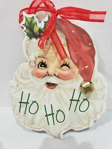 NEW Vintage Style Santa Claus Wood Christmas Holiday Sign Ornament