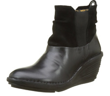Fly London SULA BLACK Womens Boots Heel Wedge US 10-10.5 EU 41