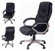 HAVANA BLACK LEATHER OFFICE DESK SWIVEL CHAIR RIBBED BACK