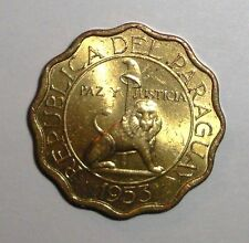 1953 Paraguay 15 centimos, Lion cat, animal, wildlife, scalloped coin