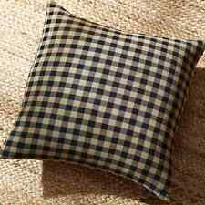 BLACK CHECK Throw Toss Fabric Pillow Black/Khaki Rustic Country Primitive 16x16