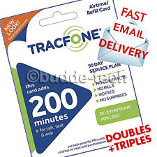 Tracfone 200 Minutes 90 Days Service Tracfone PIN Card Airtime Data email fast