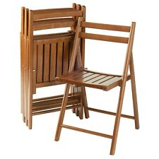 4 Piece Folding Chair Set Teak Finish Solid Wood Space Saver Slats Stack Compact
