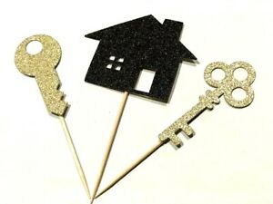 12 x House Warming House and Keys Cup Cake Topper cupcake house warming party