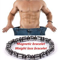 1pc Weight Loss Round Black Stone Magnetic Therapy Bracelet Health Care Noble