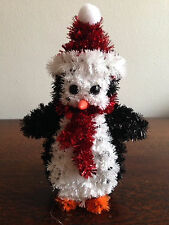 3 x LARGE Christmas Tinsel Penguin hanging | table decorations 17cm Tall