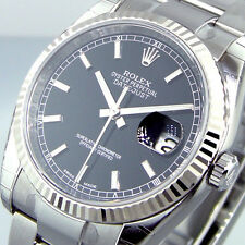 ROLEX DATEJUST 116234 STEEL 36 mm OYSTER BRACELET BLACK STICK DIAL