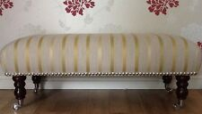 Footstool Stool In Laura Ashley Luxford Stripe Camomile Fabric
