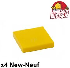 Lego - 4x Tile plaque lisse 2 x 2 with Groove jaune/yellow 3068b NEUF