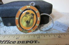Enamal Image Of A Collie On A Swivel Key Chain-New