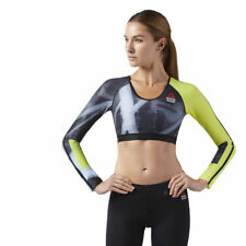 NWT $90 Reebok CrossFit Sports Top RG Cropped Compression Black Yellow Size S