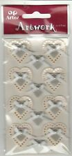 Cream Silver Wedding Hearts Bows Craft Embellishment Wedding Card Stickers