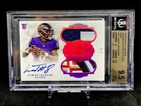 2018 PANINI FLAWLESS RUBY LAMAR JACKSON ROOKIE RC PATCH AUTO /5 #15 BGS 9.5 GEM