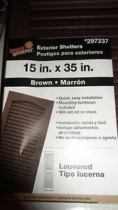 """Severe Weather Exterior Shutters Pair Brown 15"""" x 35"""" Louvered Panel Vinyl NEW"""