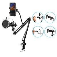 Neewer Microphone Suspension Boom Scissor Arm Stand with Pop Filter Mask Shield