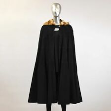 Black Suede with Fox Fur Hood Cape - ONE SIZE FITS ALL  Pre-Owned
