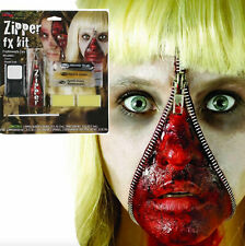 Horror Make Up Zombie Zipper Zip Face Kit Wound Gore Scary Make Up Blood Set FX