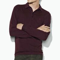 John Varvatos Star USA Men's Long Sleeve Peace Sign Polo Shirt Bordeaux