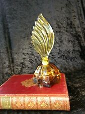 vintage Czech ART DECO Topaz coloured glass perfume bottle