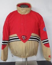 Vintage Authentic STARTER NFL San Francisco 49ers Jacket Size XL Red Gold - P.U.